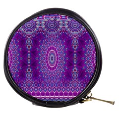 India Ornaments Mandala Pillar Blue Violet Mini Makeup Bags by EDDArt