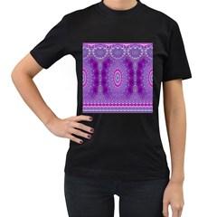 India Ornaments Mandala Pillar Blue Violet Women s T-Shirt (Black)
