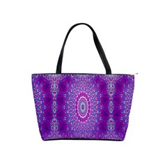 India Ornaments Mandala Pillar Blue Violet Shoulder Handbags by EDDArt