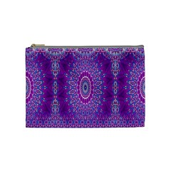 India Ornaments Mandala Pillar Blue Violet Cosmetic Bag (medium)  by EDDArt