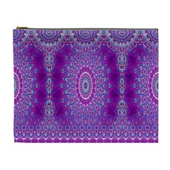 India Ornaments Mandala Pillar Blue Violet Cosmetic Bag (xl) by EDDArt