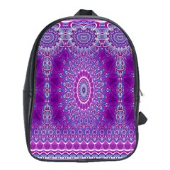 India Ornaments Mandala Pillar Blue Violet School Bags(large)  by EDDArt