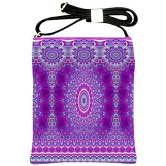 India Ornaments Mandala Pillar Blue Violet Shoulder Sling Bags by EDDArt
