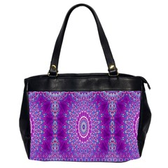 India Ornaments Mandala Pillar Blue Violet Office Handbags (2 Sides)  by EDDArt