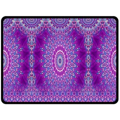 India Ornaments Mandala Pillar Blue Violet Fleece Blanket (large)  by EDDArt