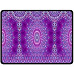 India Ornaments Mandala Pillar Blue Violet Fleece Blanket (Large)  80 x60 Blanket Front