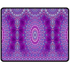 India Ornaments Mandala Pillar Blue Violet Fleece Blanket (medium)  by EDDArt
