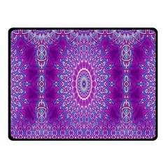 India Ornaments Mandala Pillar Blue Violet Fleece Blanket (small) by EDDArt