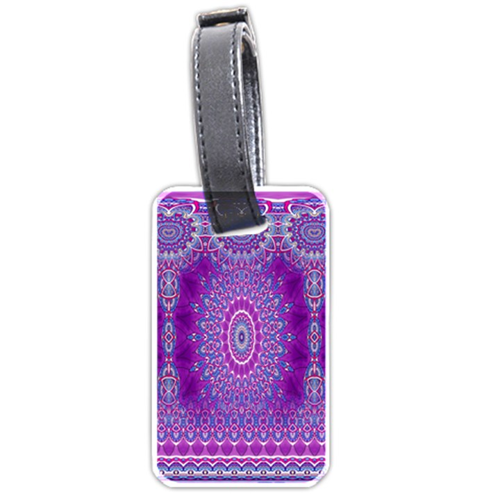 India Ornaments Mandala Pillar Blue Violet Luggage Tags (Two Sides)