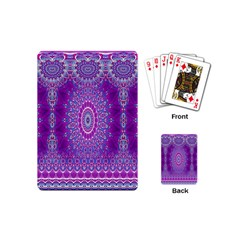 India Ornaments Mandala Pillar Blue Violet Playing Cards (mini)  by EDDArt