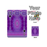 India Ornaments Mandala Pillar Blue Violet Playing Cards 54 (Mini)  Front - Spade3