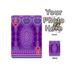 India Ornaments Mandala Pillar Blue Violet Playing Cards 54 (Mini)  Front - Heart9