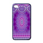 India Ornaments Mandala Pillar Blue Violet Apple iPhone 4 Case (Black) Front