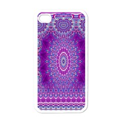 India Ornaments Mandala Pillar Blue Violet Apple Iphone 4 Case (white) by EDDArt