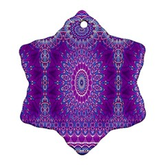 India Ornaments Mandala Pillar Blue Violet Ornament (snowflake)  by EDDArt