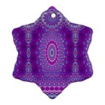 India Ornaments Mandala Pillar Blue Violet Ornament (Snowflake)  Front