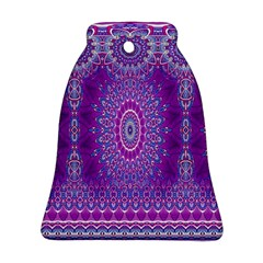 India Ornaments Mandala Pillar Blue Violet Bell Ornament (2 Sides) by EDDArt