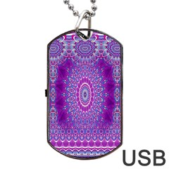 India Ornaments Mandala Pillar Blue Violet Dog Tag Usb Flash (one Side) by EDDArt