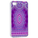 India Ornaments Mandala Pillar Blue Violet Apple iPhone 4/4s Seamless Case (White) Front