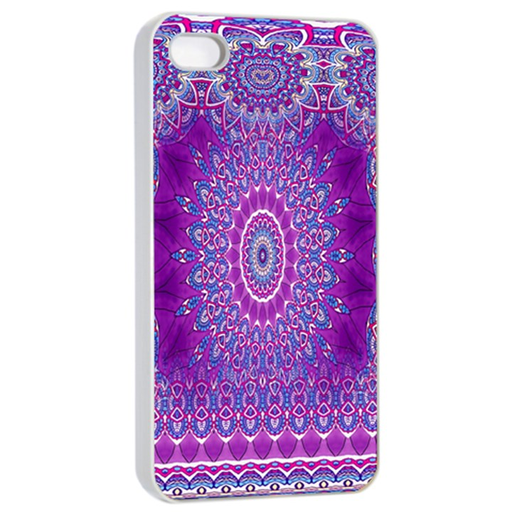 India Ornaments Mandala Pillar Blue Violet Apple iPhone 4/4s Seamless Case (White)