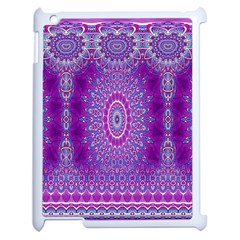 India Ornaments Mandala Pillar Blue Violet Apple Ipad 2 Case (white) by EDDArt