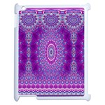 India Ornaments Mandala Pillar Blue Violet Apple iPad 2 Case (White) Front