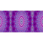 India Ornaments Mandala Pillar Blue Violet Twin Hearts 3D Greeting Card (8x4) Front