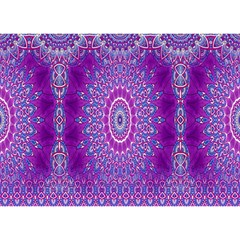 India Ornaments Mandala Pillar Blue Violet Birthday Cake 3d Greeting Card (7x5) by EDDArt