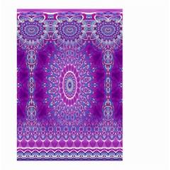 India Ornaments Mandala Pillar Blue Violet Small Garden Flag (two Sides) by EDDArt