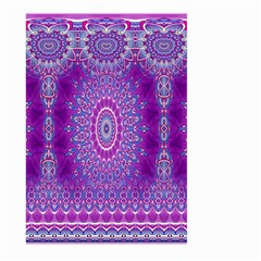 India Ornaments Mandala Pillar Blue Violet Large Garden Flag (two Sides) by EDDArt