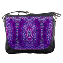 India Ornaments Mandala Pillar Blue Violet Messenger Bags by EDDArt