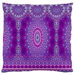 India Ornaments Mandala Pillar Blue Violet Large Cushion Case (One Side)