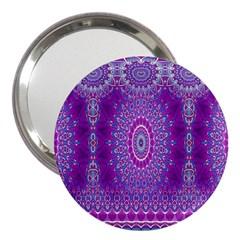 India Ornaments Mandala Pillar Blue Violet 3  Handbag Mirrors