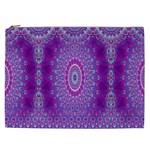 India Ornaments Mandala Pillar Blue Violet Cosmetic Bag (XXL)  Front