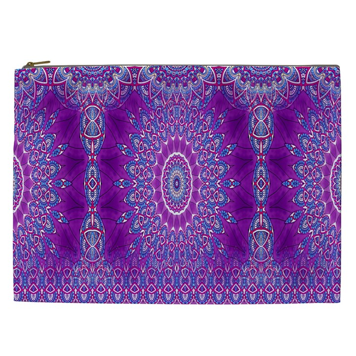India Ornaments Mandala Pillar Blue Violet Cosmetic Bag (XXL)
