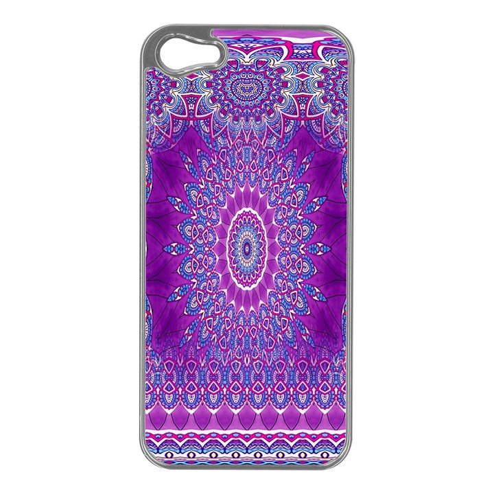India Ornaments Mandala Pillar Blue Violet Apple iPhone 5 Case (Silver)