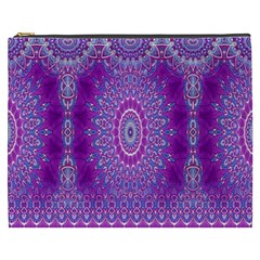 India Ornaments Mandala Pillar Blue Violet Cosmetic Bag (xxxl)  by EDDArt