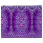 India Ornaments Mandala Pillar Blue Violet Cosmetic Bag (XXXL)  Front