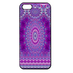 India Ornaments Mandala Pillar Blue Violet Apple Iphone 5 Seamless Case (black) by EDDArt