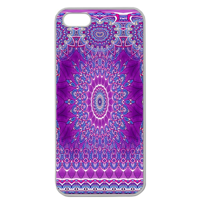India Ornaments Mandala Pillar Blue Violet Apple Seamless iPhone 5 Case (Clear)