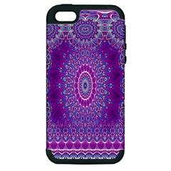 India Ornaments Mandala Pillar Blue Violet Apple Iphone 5 Hardshell Case (pc+silicone) by EDDArt