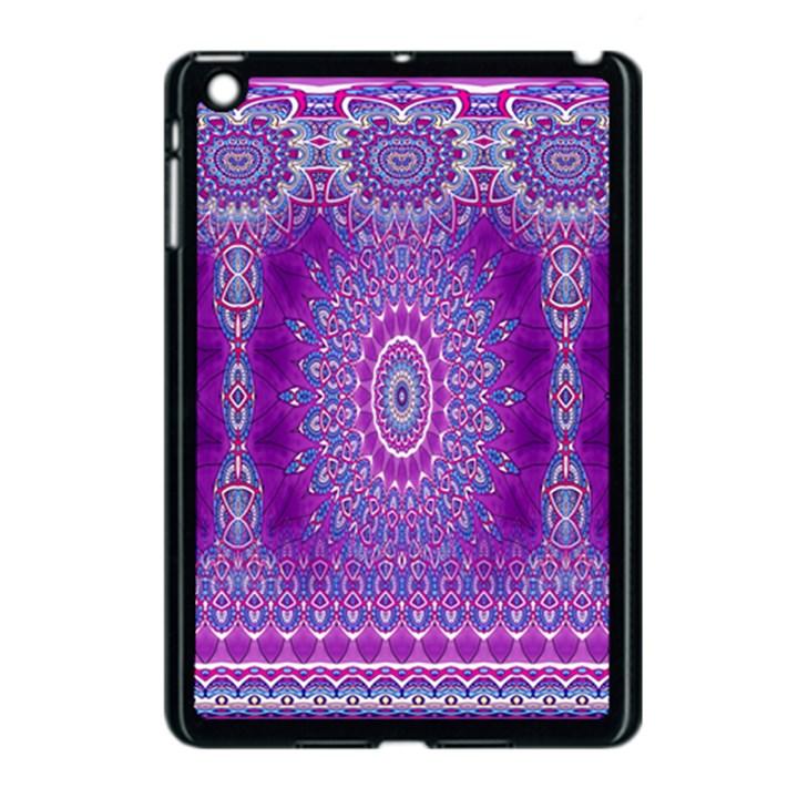 India Ornaments Mandala Pillar Blue Violet Apple iPad Mini Case (Black)