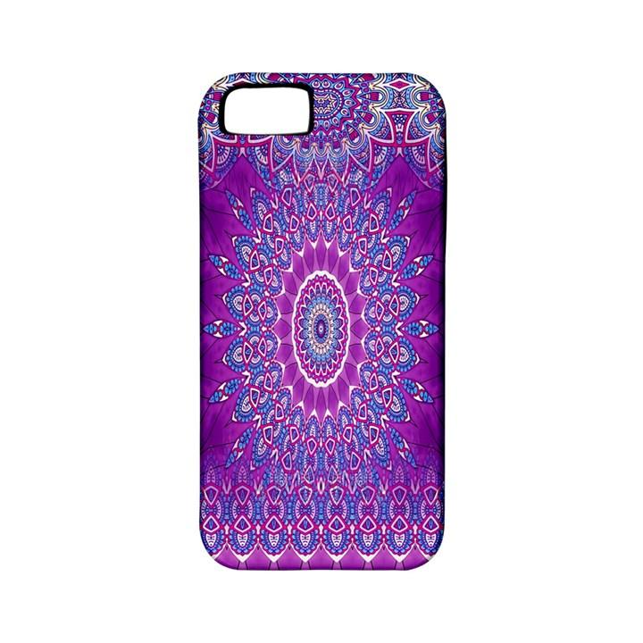 India Ornaments Mandala Pillar Blue Violet Apple iPhone 5 Classic Hardshell Case (PC+Silicone)