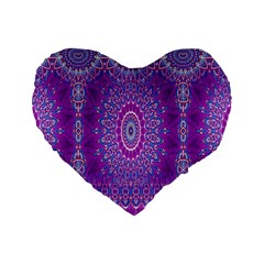 India Ornaments Mandala Pillar Blue Violet Standard 16  Premium Heart Shape Cushions by EDDArt
