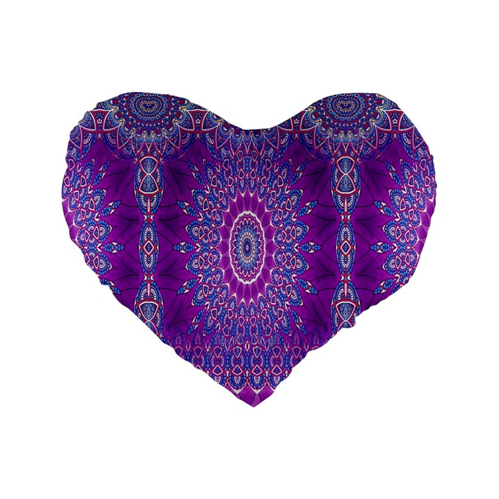 India Ornaments Mandala Pillar Blue Violet Standard 16  Premium Heart Shape Cushions