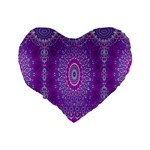 India Ornaments Mandala Pillar Blue Violet Standard 16  Premium Heart Shape Cushions Back