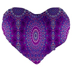 India Ornaments Mandala Pillar Blue Violet Large 19  Premium Heart Shape Cushions by EDDArt