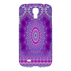 India Ornaments Mandala Pillar Blue Violet Samsung Galaxy S4 I9500/i9505 Hardshell Case by EDDArt
