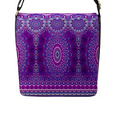 India Ornaments Mandala Pillar Blue Violet Flap Messenger Bag (l)  by EDDArt