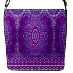 India Ornaments Mandala Pillar Blue Violet Flap Messenger Bag (S)